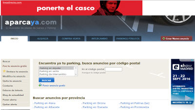 Web alquileres de Parking